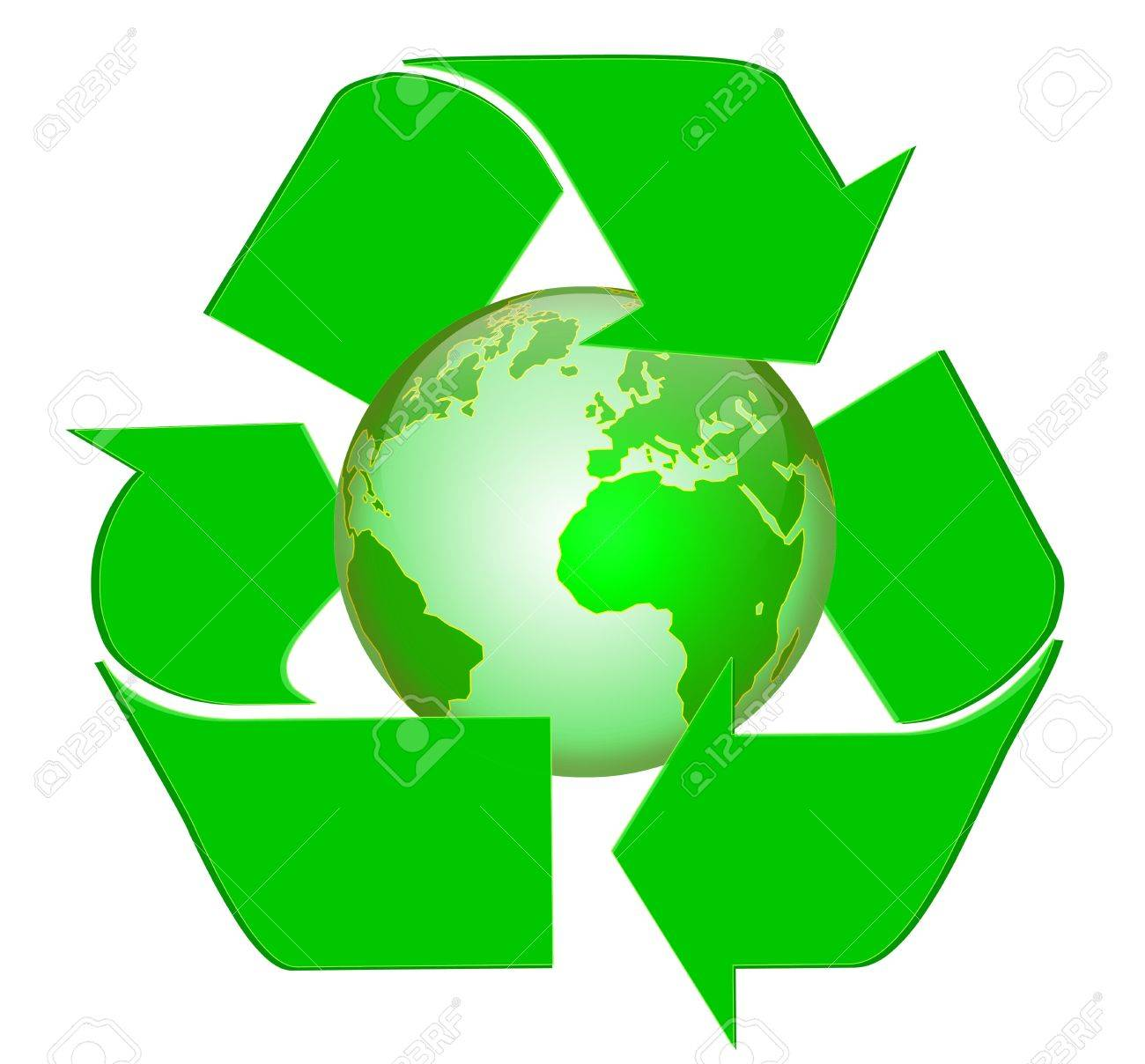 Planet Earth with Recycle Symbol on Stock Photo - 5210658