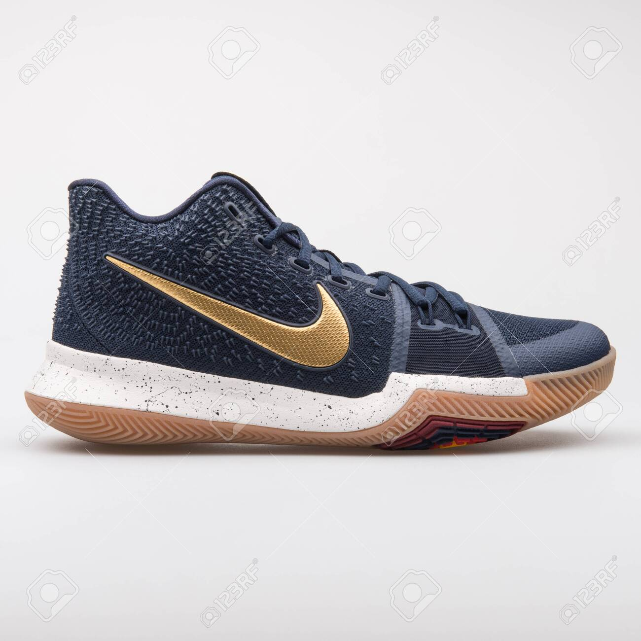 info for 377f7 a0379 VIENNA, AUSTRIA - AUGUST 7, 2017: Nike Kyrie 3 blue and gold..