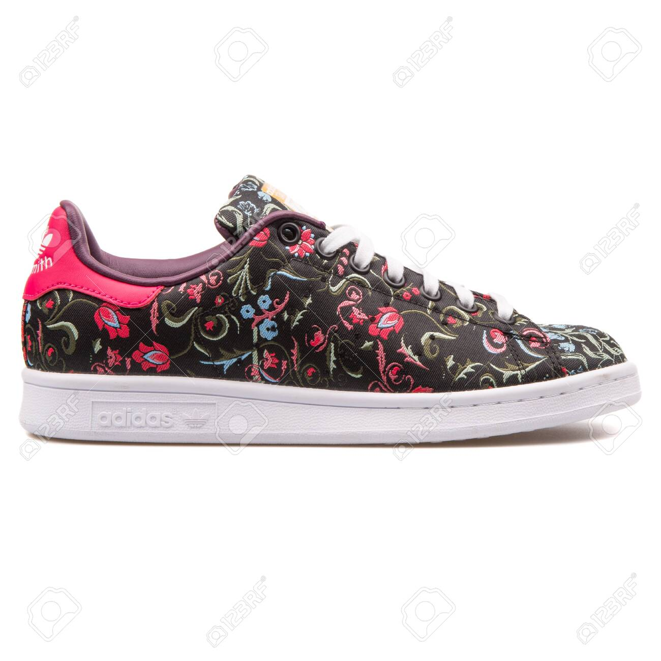 low priced 203bf cf49d VIENNA, AUSTRIA - AUGUST 25, 2017: Adidas Stan Smith floral black..