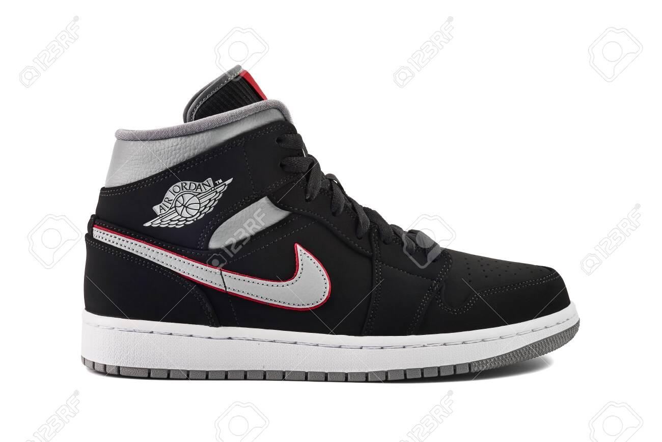 hot sale online a641a 22c20 VIENNA, AUSTRIA - MAY 10, 2019: Nike Air Jordan 1 Mid black,..