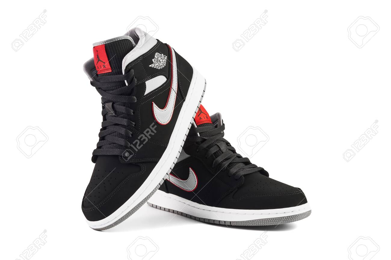hot sale online 1be6d e222a VIENNA, AUSTRIA - MAY 10, 2019: Nike Air Jordan 1 Mid black,..
