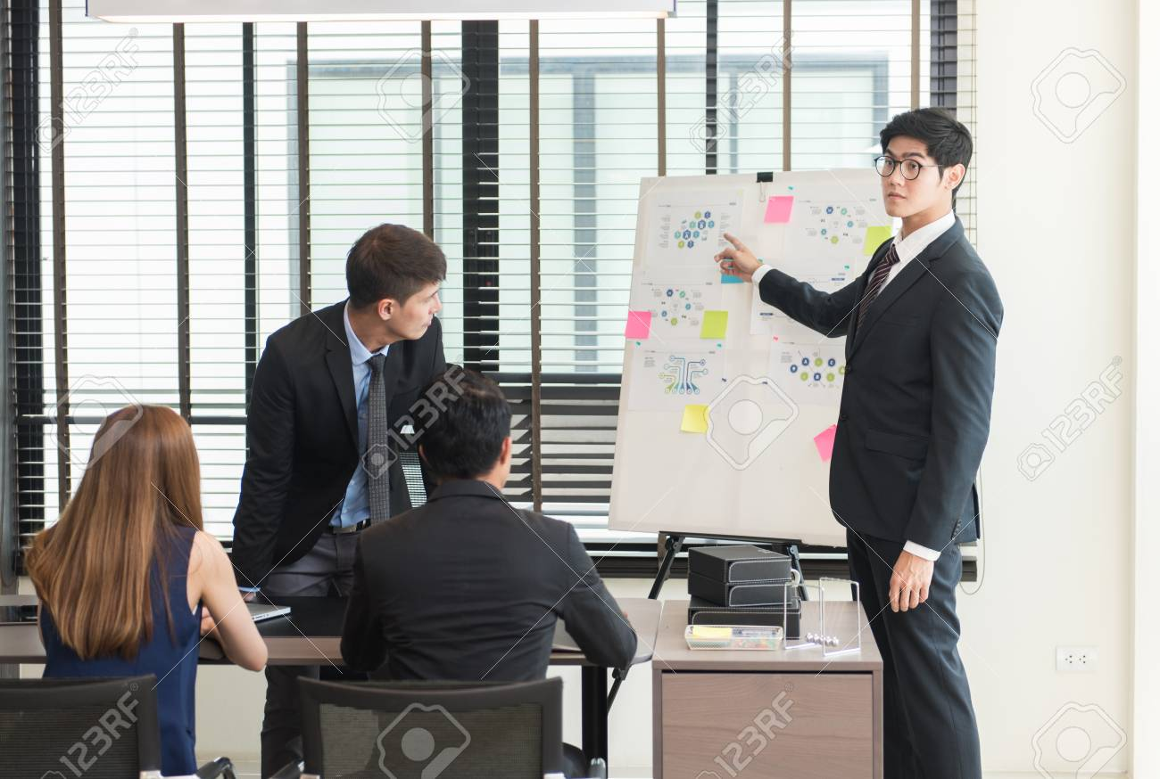Group Of Asian Business People Working And Brainstorming In The