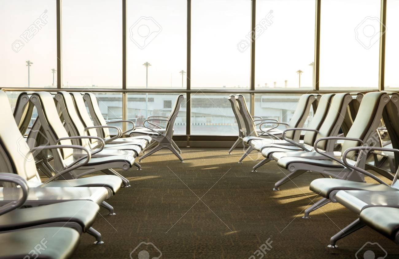 Contemporary Lounge With Seats In The Airport During Sun Set.. Stock ...