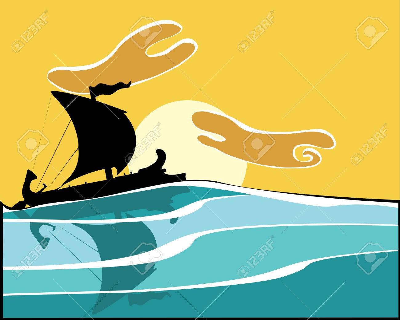 Greek Warship in the evening. Stock Vector - 5150195
