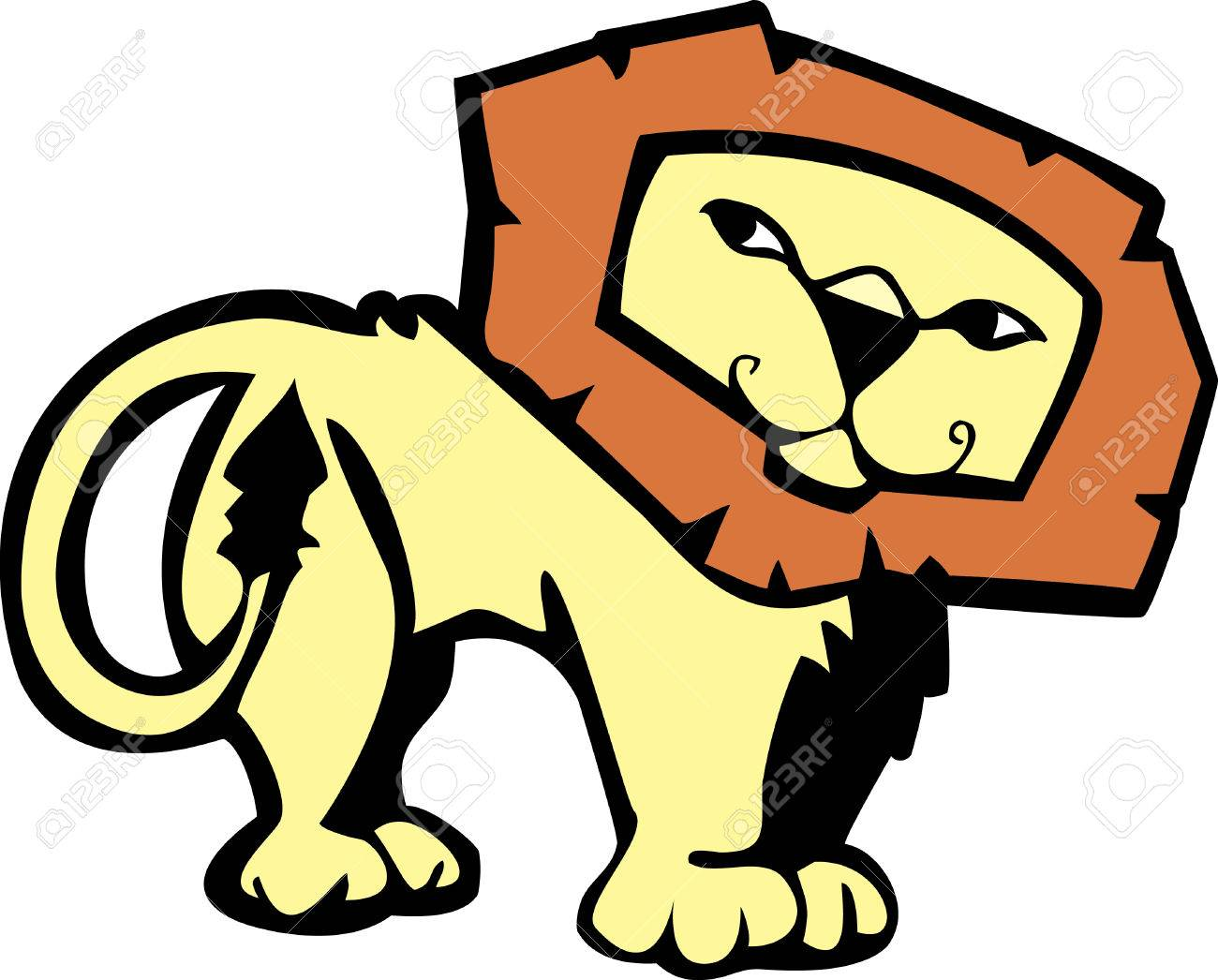 Cartoon of a male African lion with a pleasant expression. Stock Vector - 5392363
