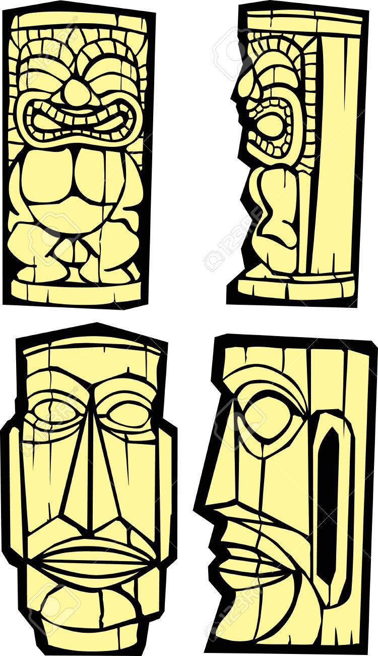 Mixed group of tikis side and front views. Stock Vector - 5392365
