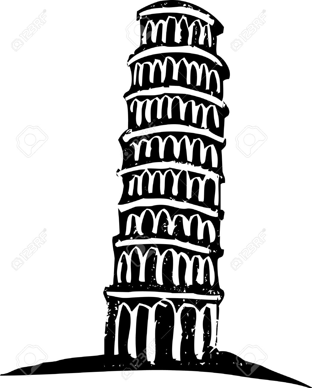 Black and White woodcut style illustration of the leaning tower of Pisa Italy. - 5666389