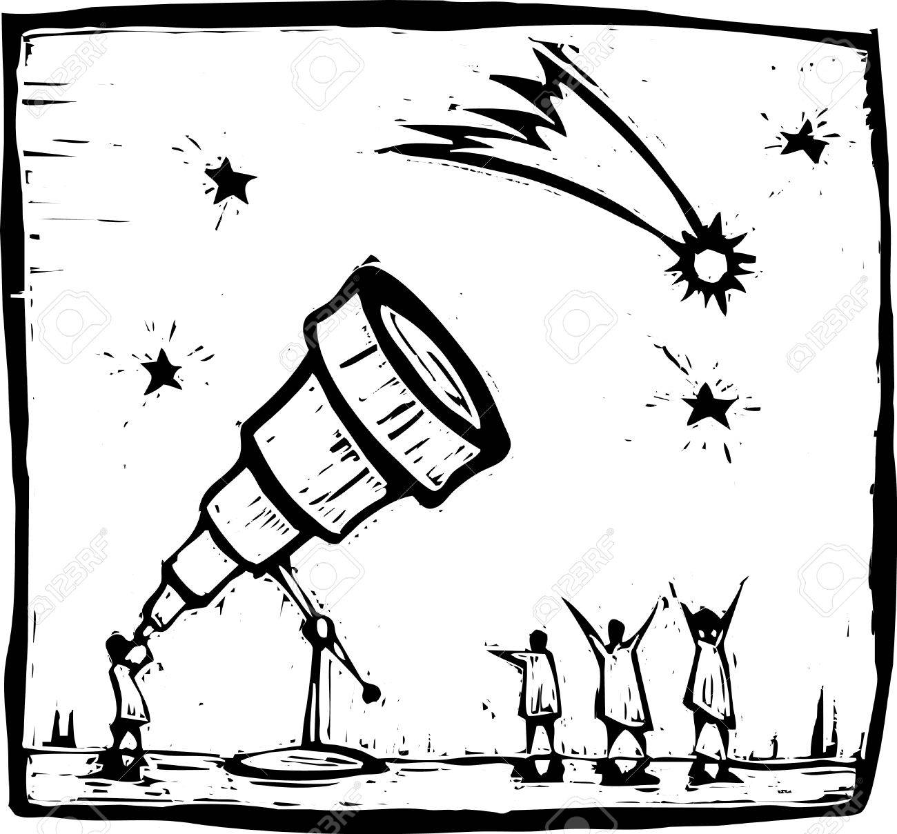 Man with telescope spies in the sky. Stock Vector - 6545681