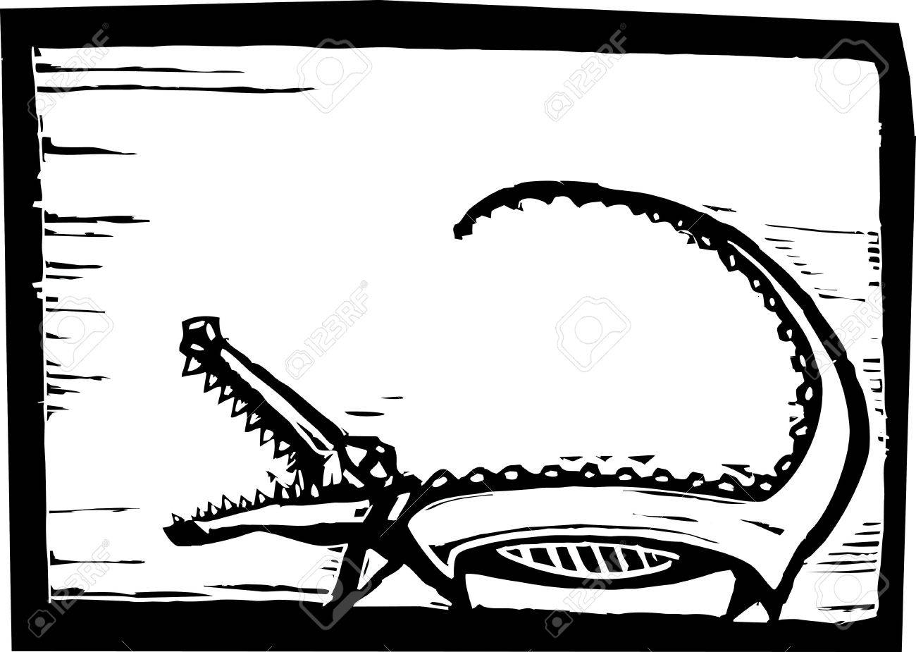 African crocodile in woodcut style in border. Stock Vector - 6835293