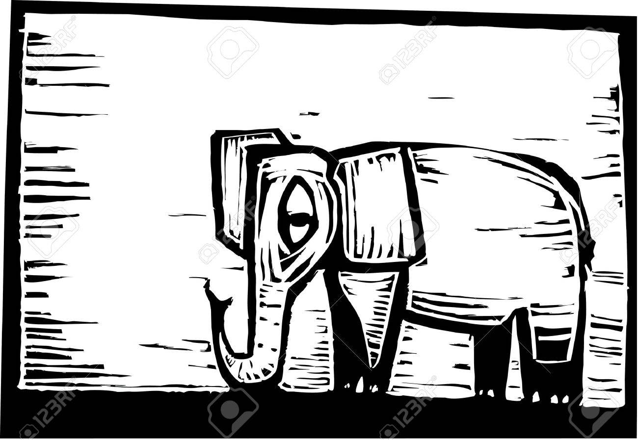 African Elephant In Woodcut Style In Border. Royalty Free Cliparts ...