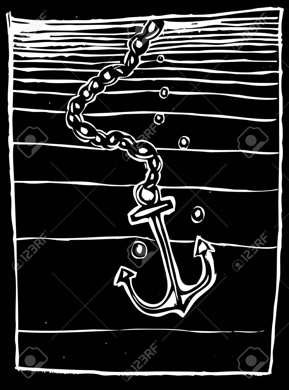 Woodcut style Anchor being dropped into a dark ocean. Stock Vector - 8079746