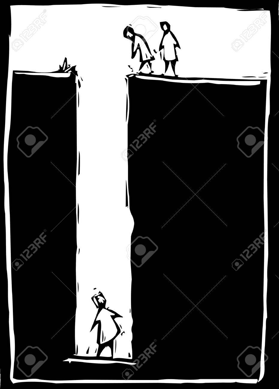 simple woodcut image of a person trapped at the bottom of a hole. Stock Vector - 8176476