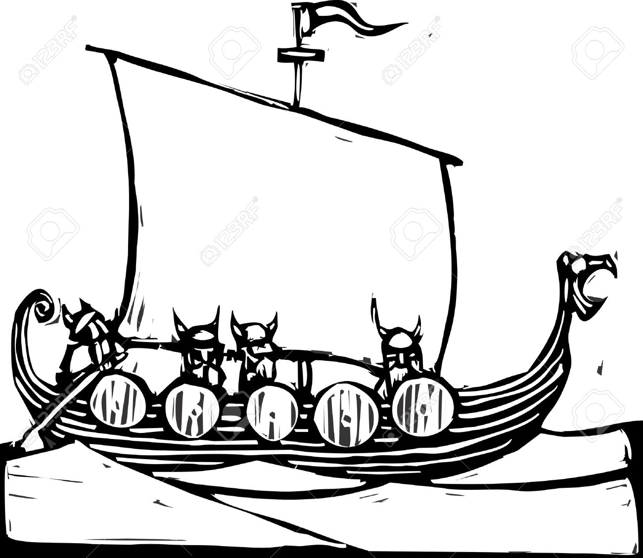 Woodcut image of a viking longship on the ocean. Stock Vector - 8914588