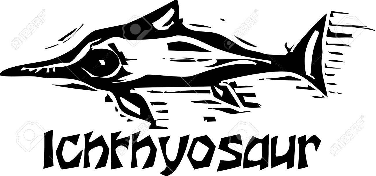 魚竜恐竜の簡単なラフ木版画スタイル描写のイラスト素材ベクタ Image