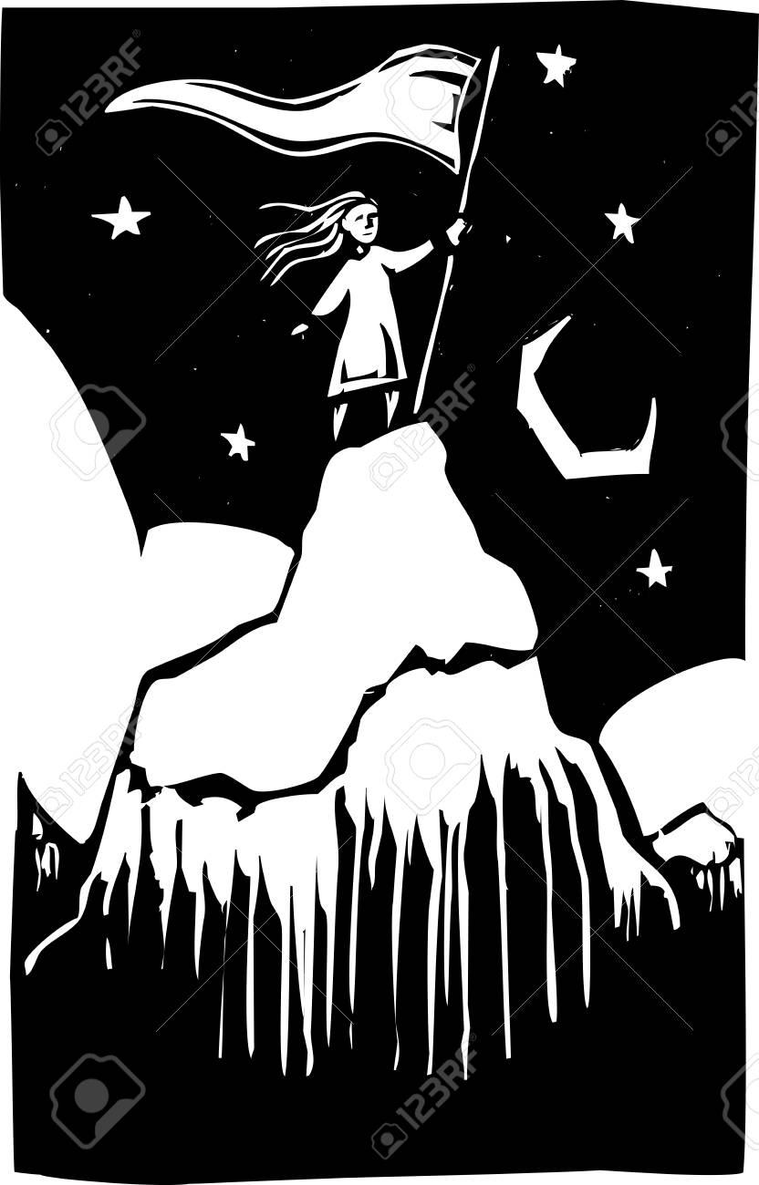 Girl climbs a mountain and plants a flag. Stock Vector - 9807813