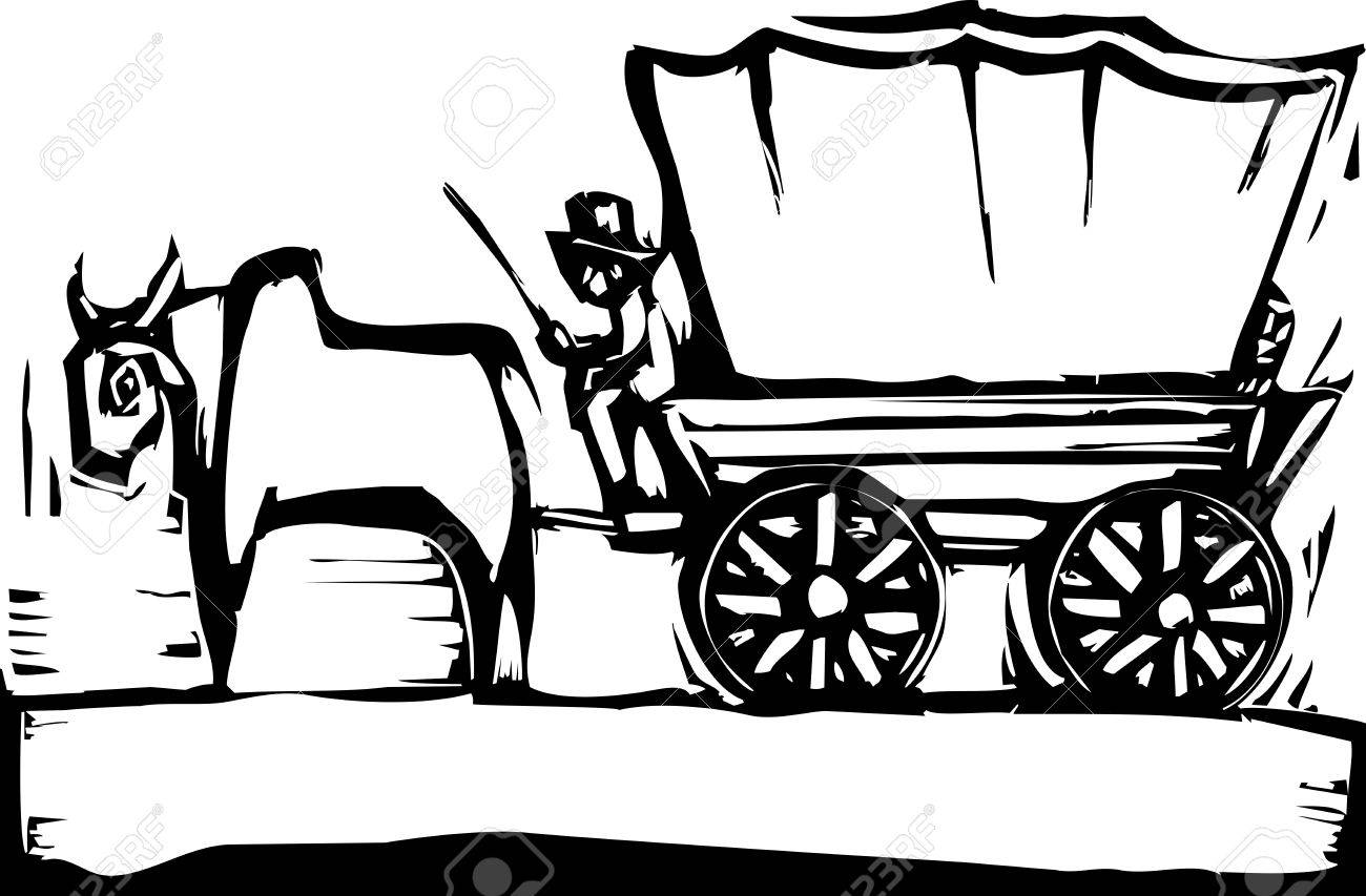 Western Woodcut Style Image Of A Covered Wagon And Ox Royalty Free ...