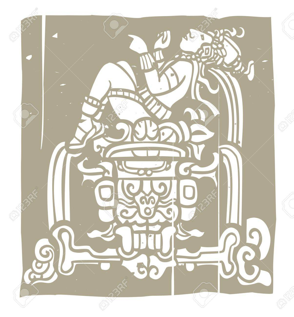 Reclining Mayan with throne adapted from temple images Stock Vector - 13375619
