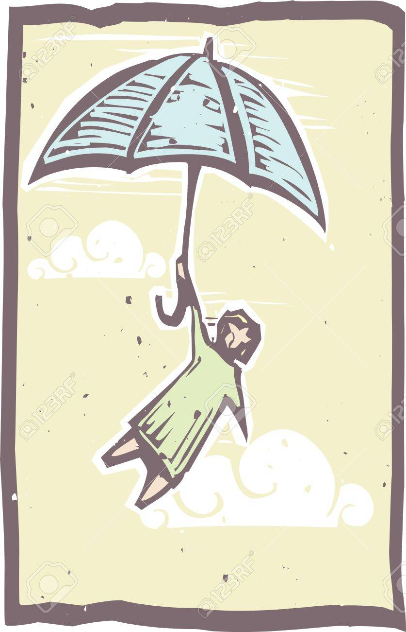 Woodcut person holds onto an umbrella flying through the air in a woodblock print style Stock Vector - 13375629
