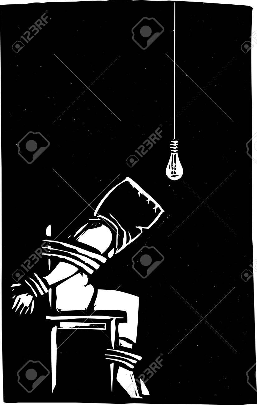 Person strapped to chair with bag over their head in interrogation scene Stock Vector - 14133872
