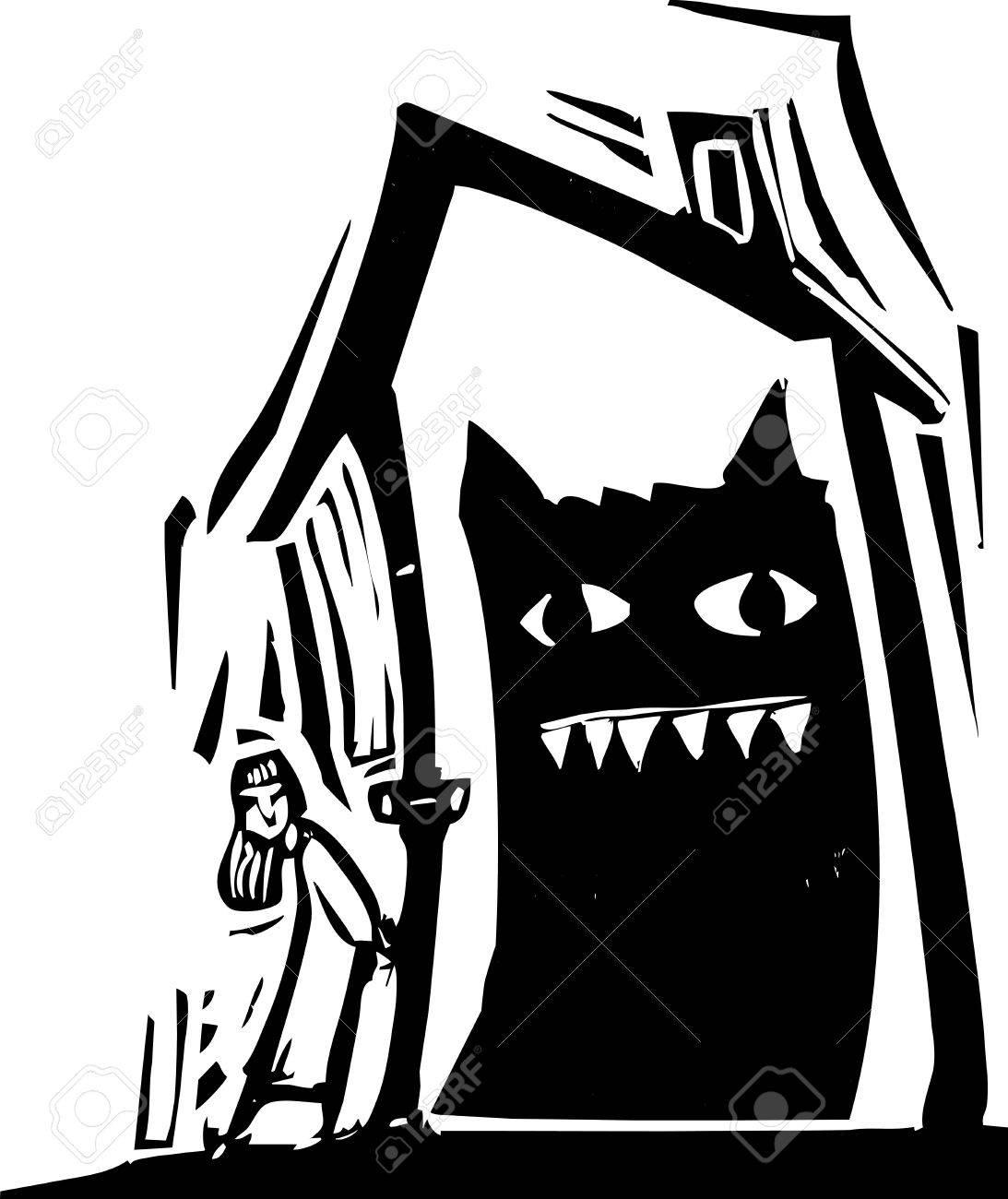 Girl locks a monster inside of a house Stock Vector - 14258261