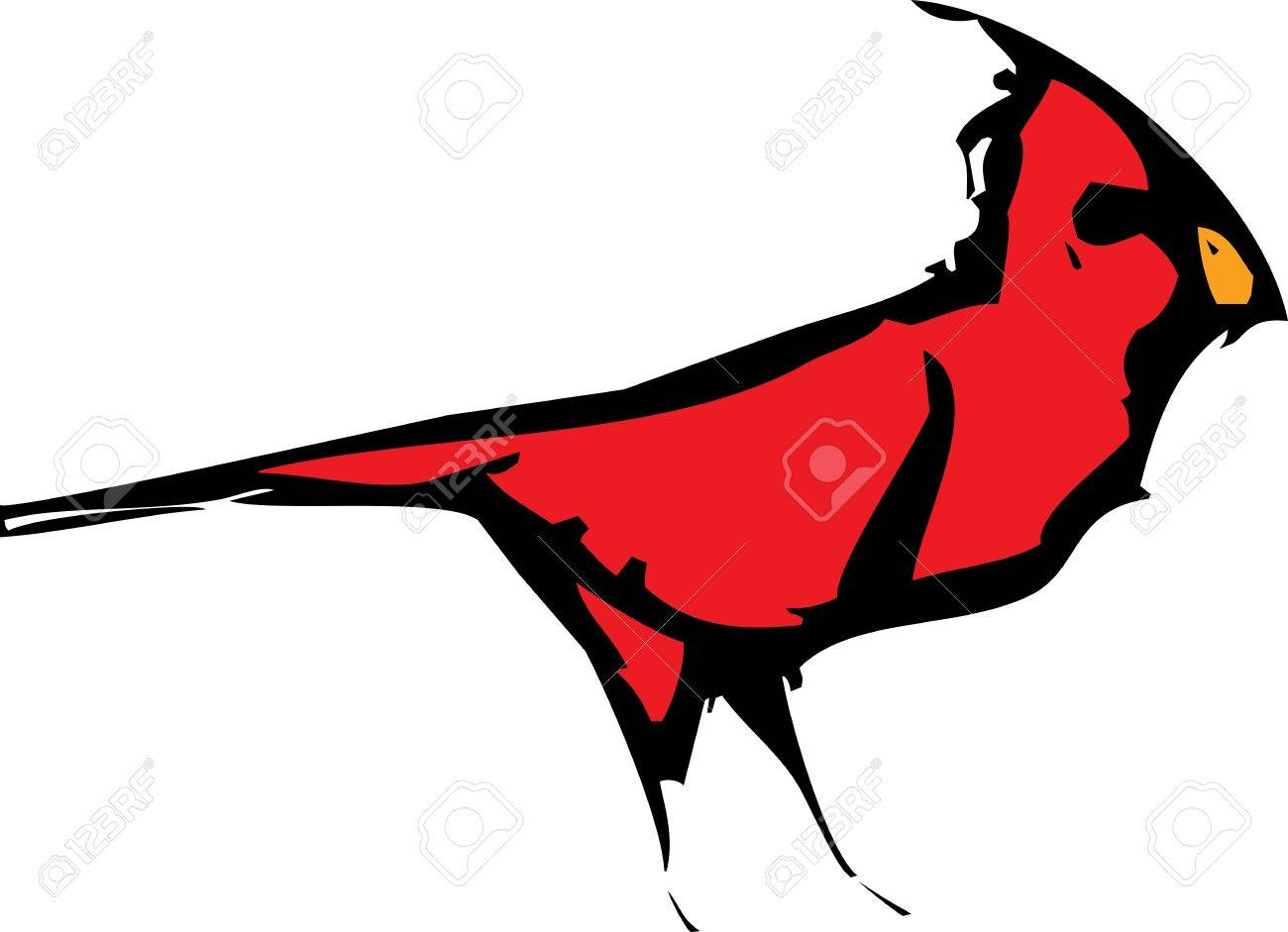 woodcut style image of a red cardinal bird royalty free cliparts