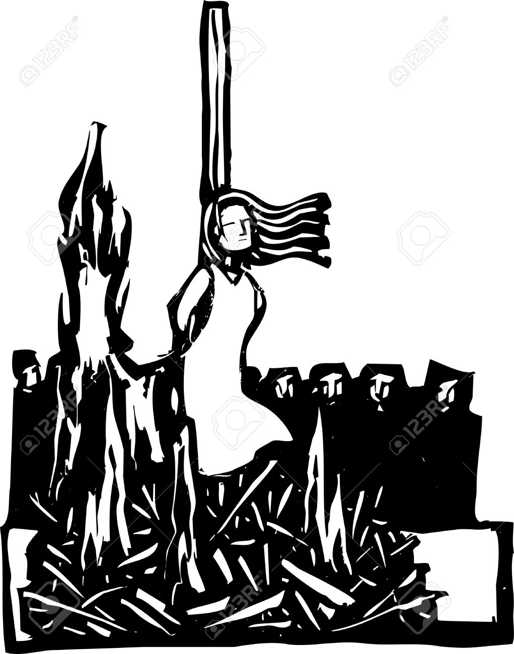 Expressionist woodcut style Woman,Saint or Witch being burned at the stake being watched by a crowd Stock Vector - 16172991