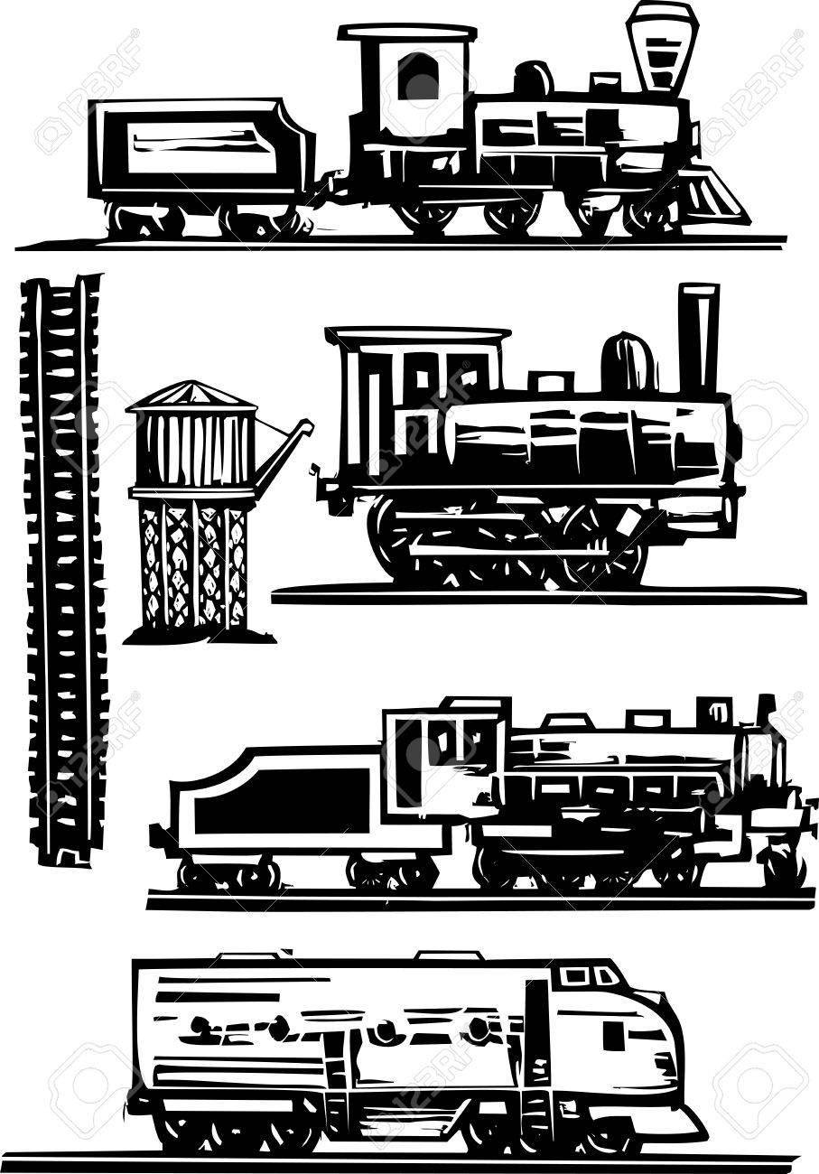 Woodcut style images of railroad trains, water towers and tracks - 16303657