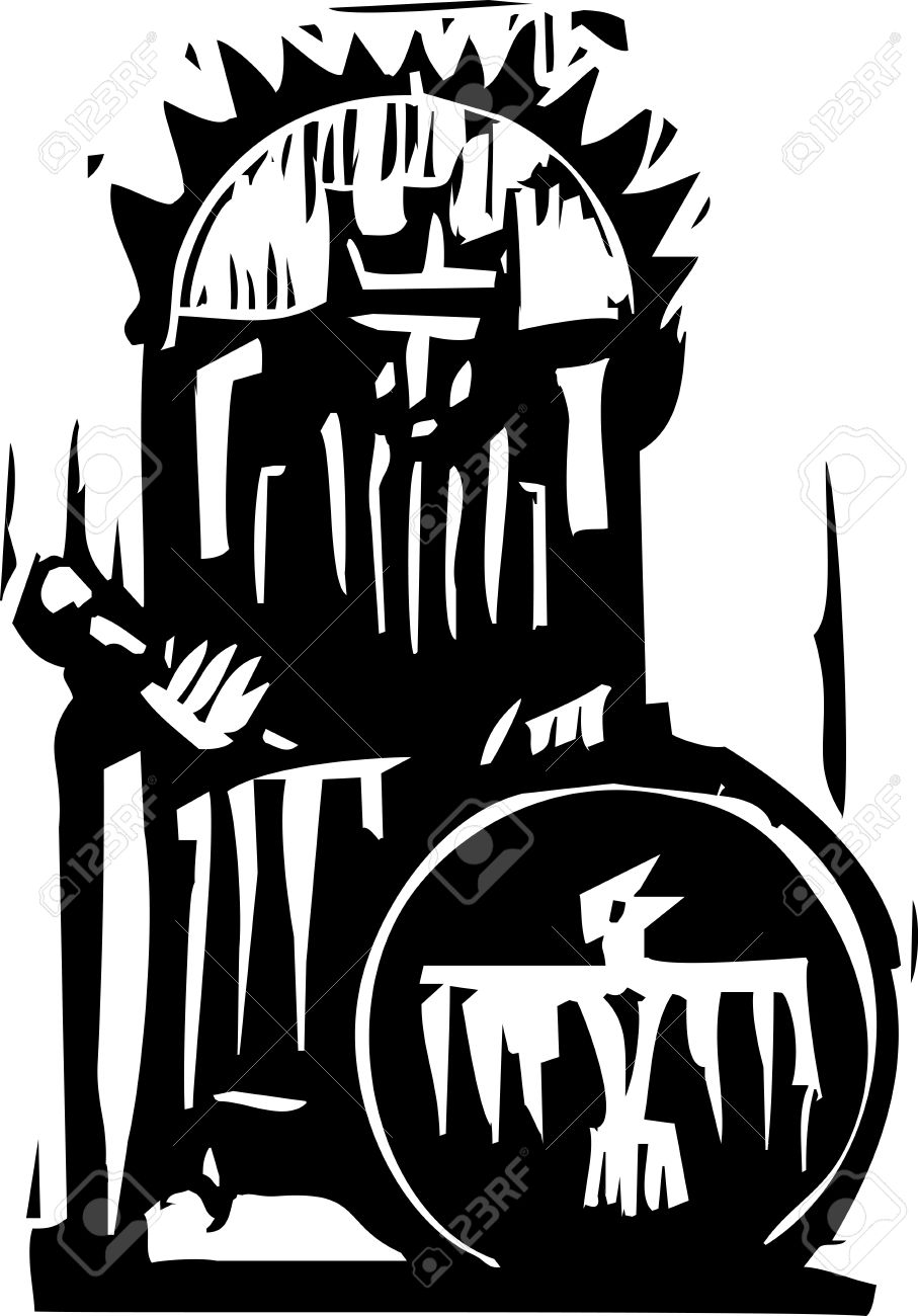 Woodcut expressionist style image of a king on a throne Stock Vector - 17724350