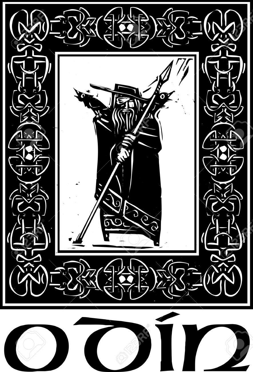 Woodcut style image of the Viking God Odin in a Celtic border Stock Vector - 18790128