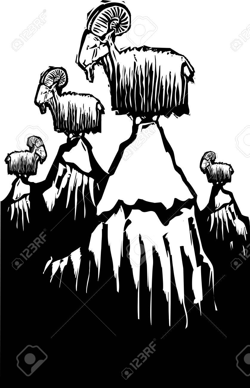 Woodcut style image of mountain goats perched on mountain peaks Stock Vector - 19357867