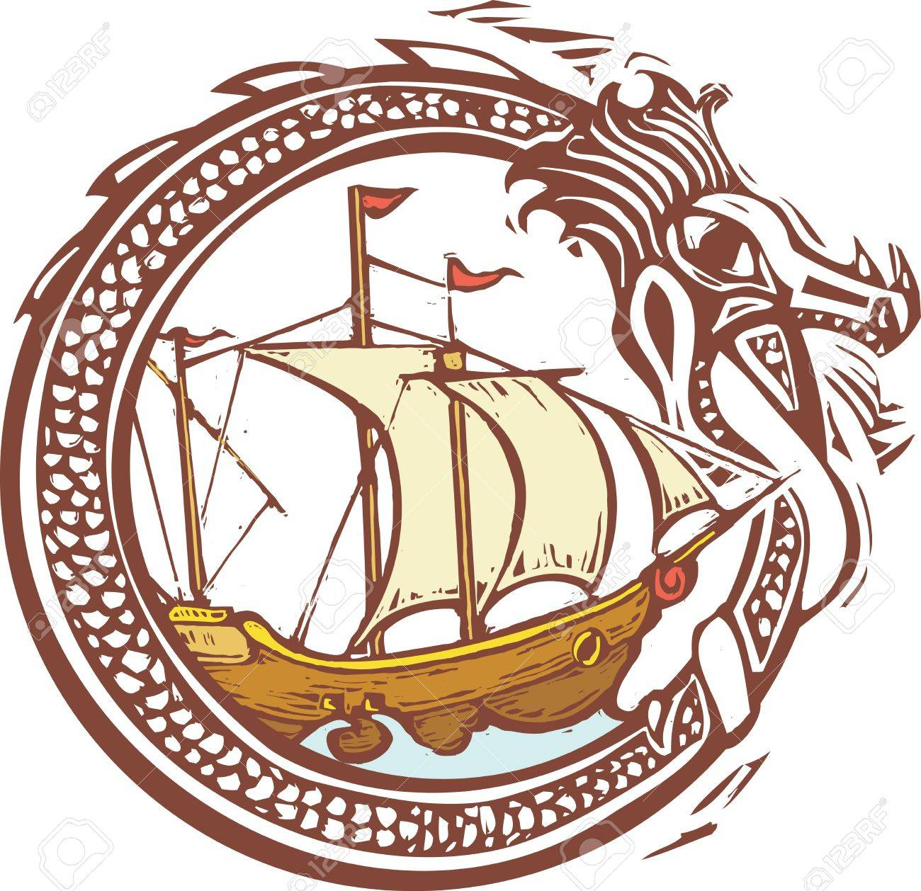 Woodcut style image of a dragon encircling a pirate ship Stock Vector - 19357863