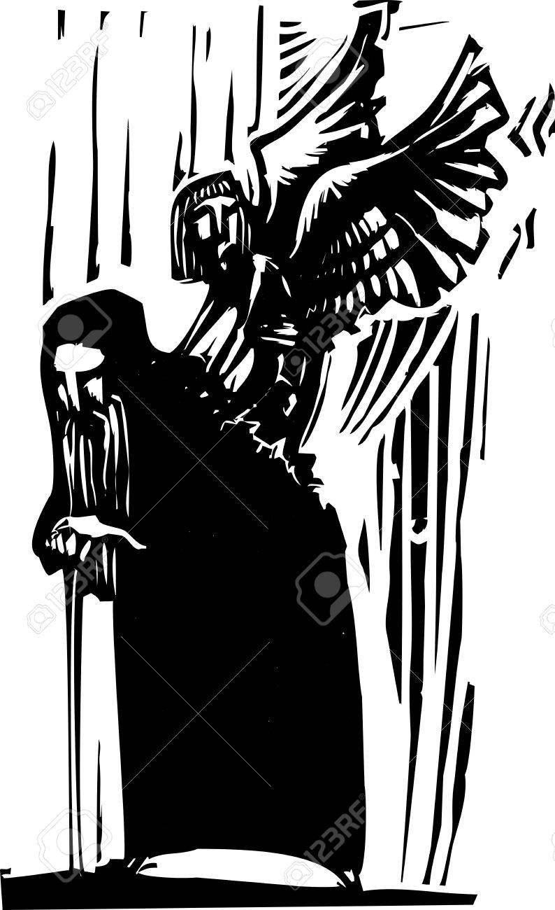 Woodcut expressionist style image of a Young angel emerging from the back of an old man Stock Vector - 19617108