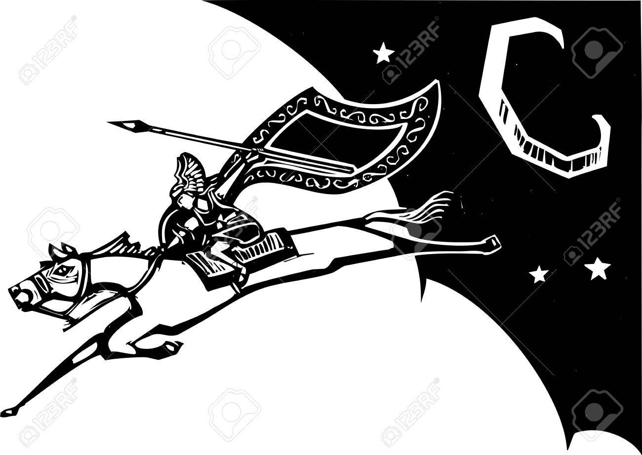 Woodcut style image of a Norse Valkyrie riding a horse and flying in the sky Stock Vector - 20184025
