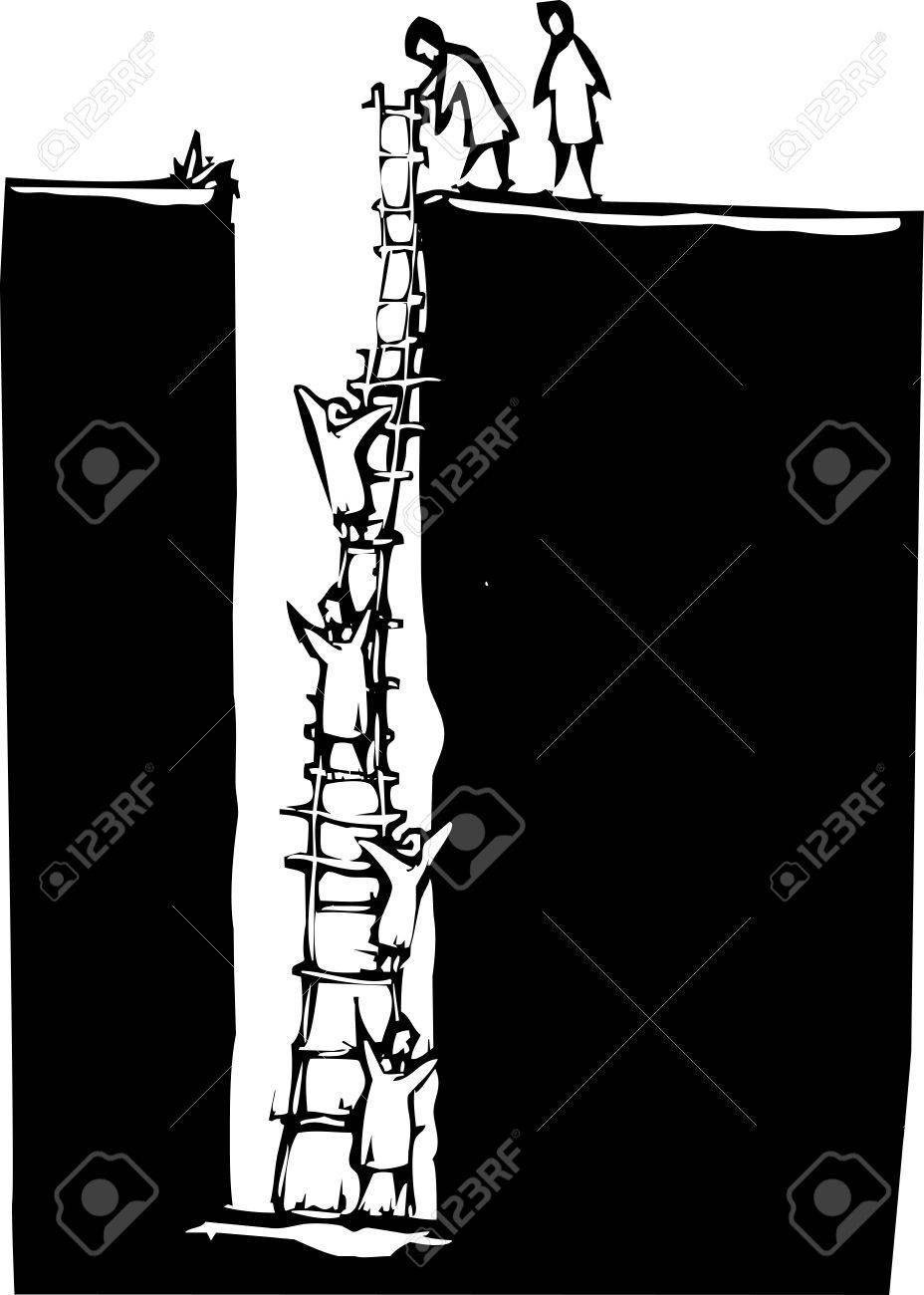 Vector Woodcut Style Image Of People Climbing Out Of A Deep Hole Using A Ladder