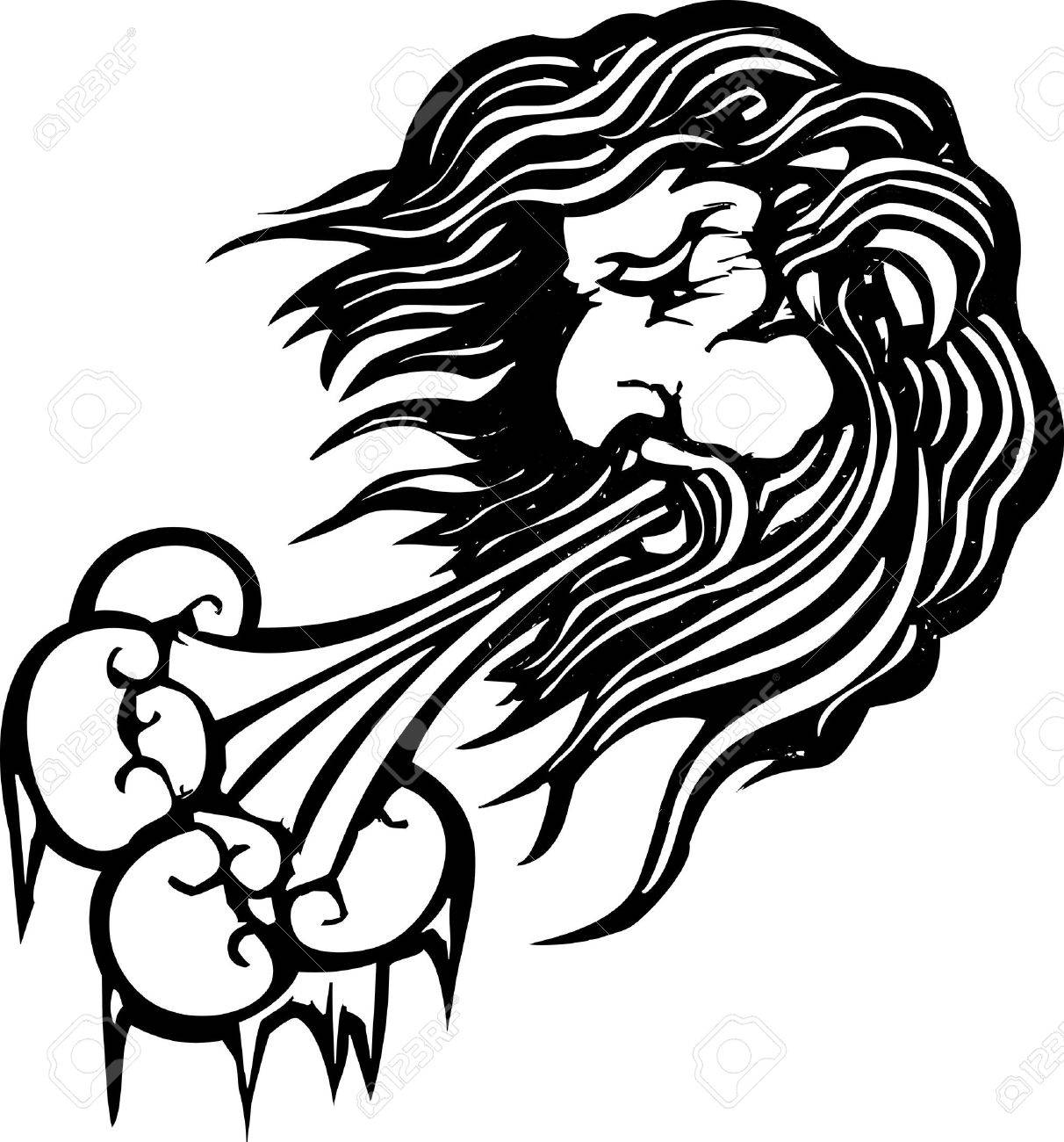 Woodcut style image of the the north wind face blowing cold air. Stock Vector - 24058578
