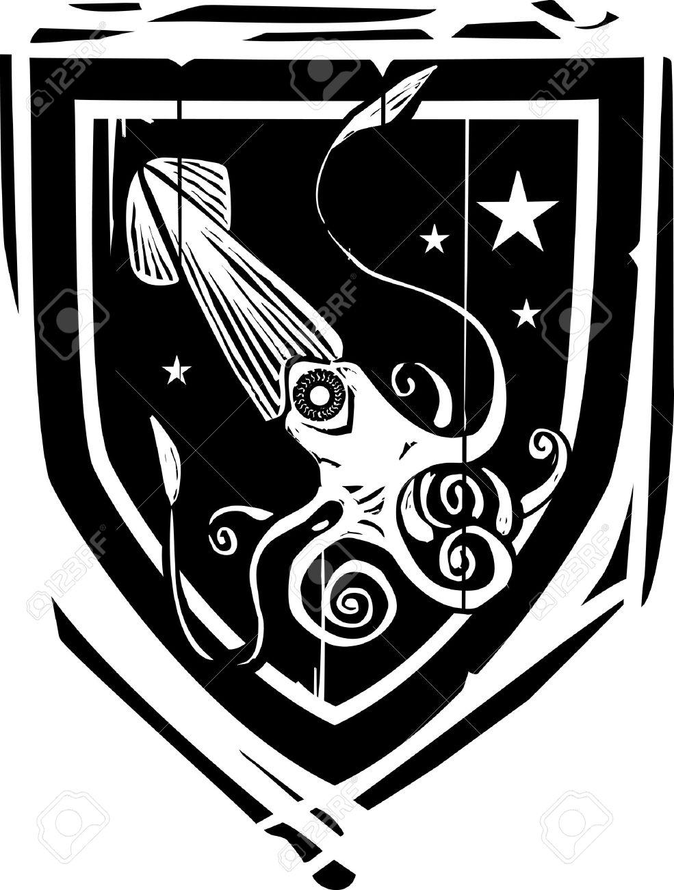 Woodcut Style Heraldic Shield With A Squid Or Kraken Royalty Free