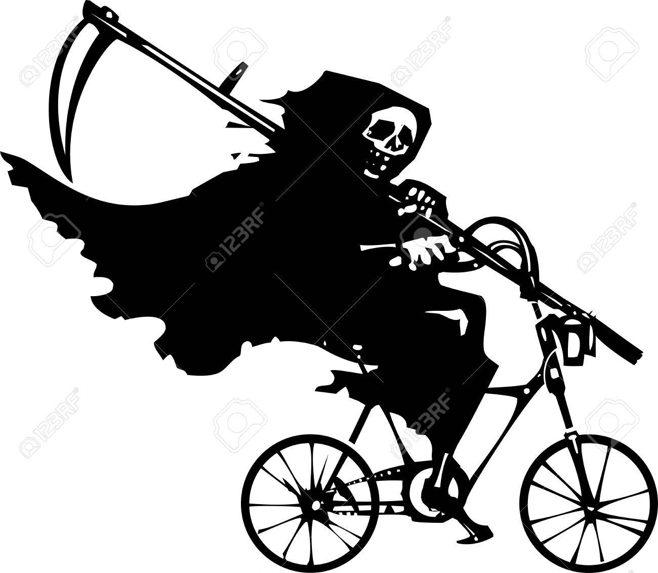 Woodcut styled image of death as the Grim reaper riding a bicycle. - 38778375