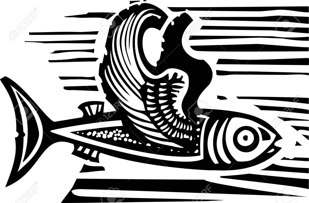 Woodcut Style Image Of A Flying Fish With Feathered Wings Royalty