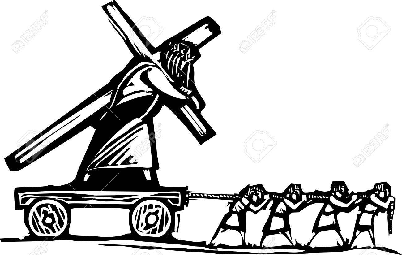 木版画も十字を運んでいるキリス...