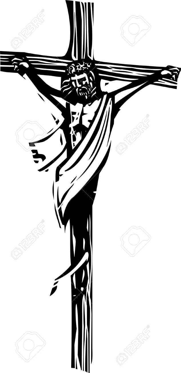 Woodcut Style Expressionist Image Of Jesus Christ On The Cross ...