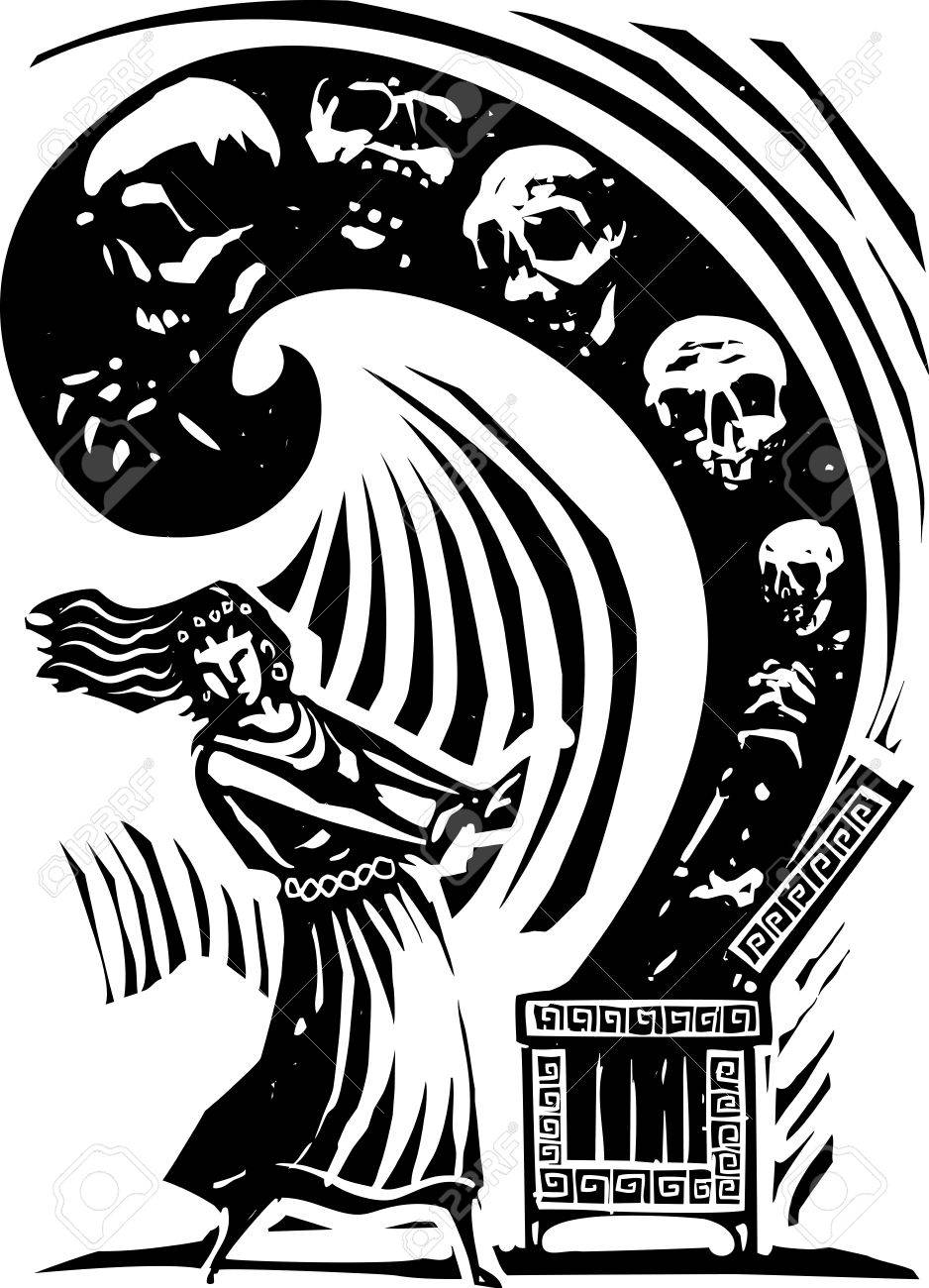 woodcut style expressionist image of the greek myth of pandora vector woodcut style expressionist image of the greek myth of pandora opening the box of the world s ills