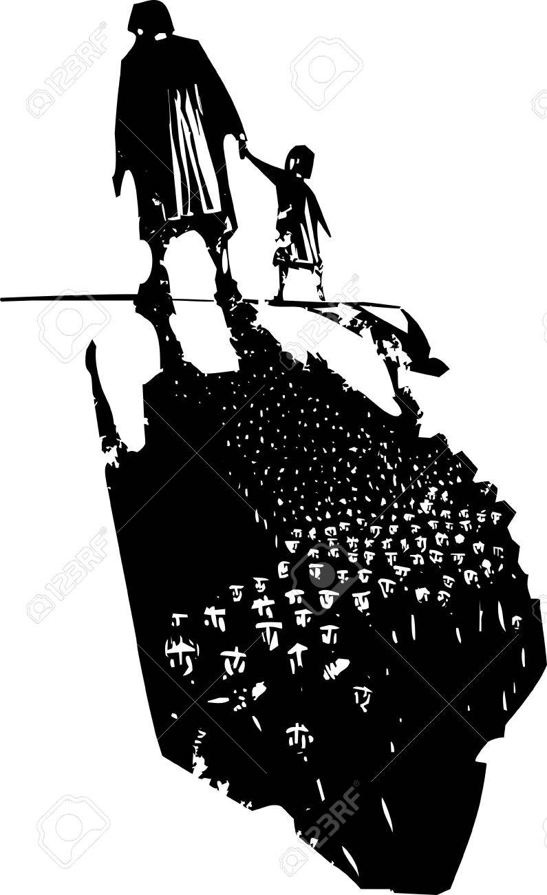 Woodcut style expressionist image of an elderly woman walking in hand with a child trailing refugees in their shadows. - 52571169
