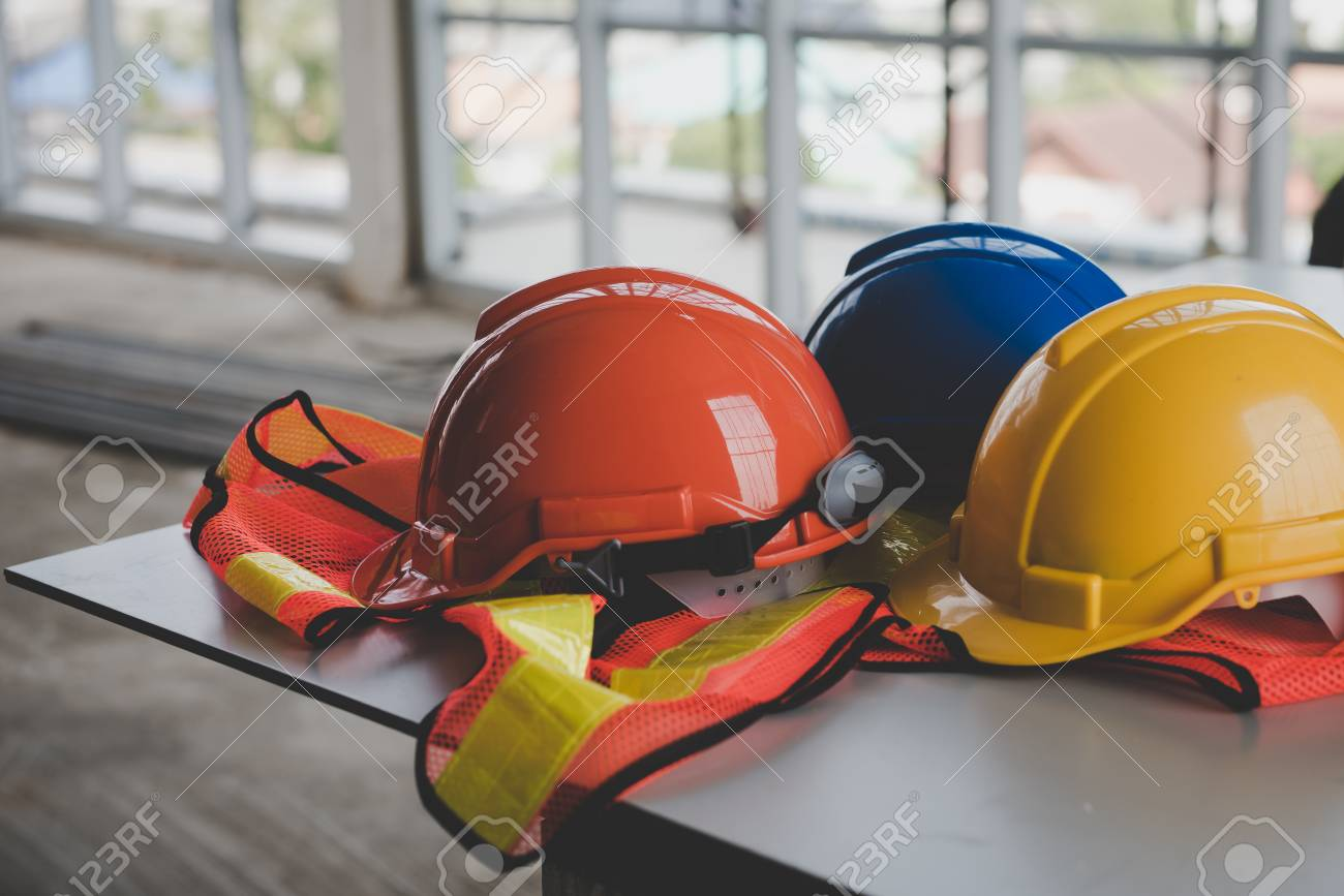 A helmet that sits on your desk in building construction. - 98720901