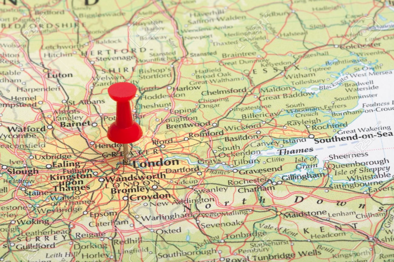 a red map pin pointing at london england stock photo picture