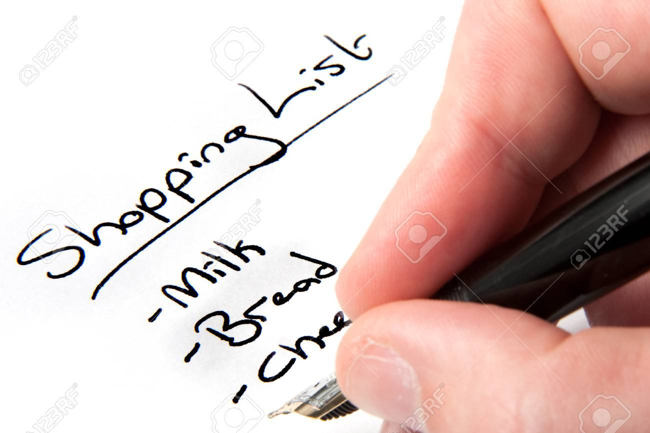 Image result for free images someone writing a shopping list