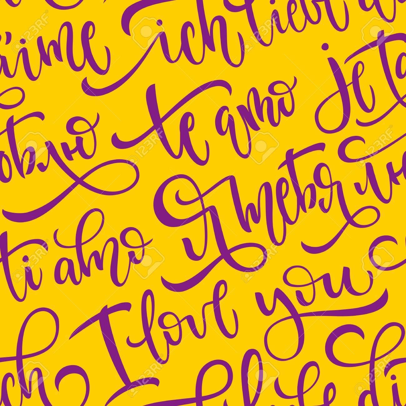 Patrón De Vector Transparente Con Frases Te Amo En Varios Idiomas Palabras En Inglés Ruso Español Italiano Francés Y Alemán Pincel Letras