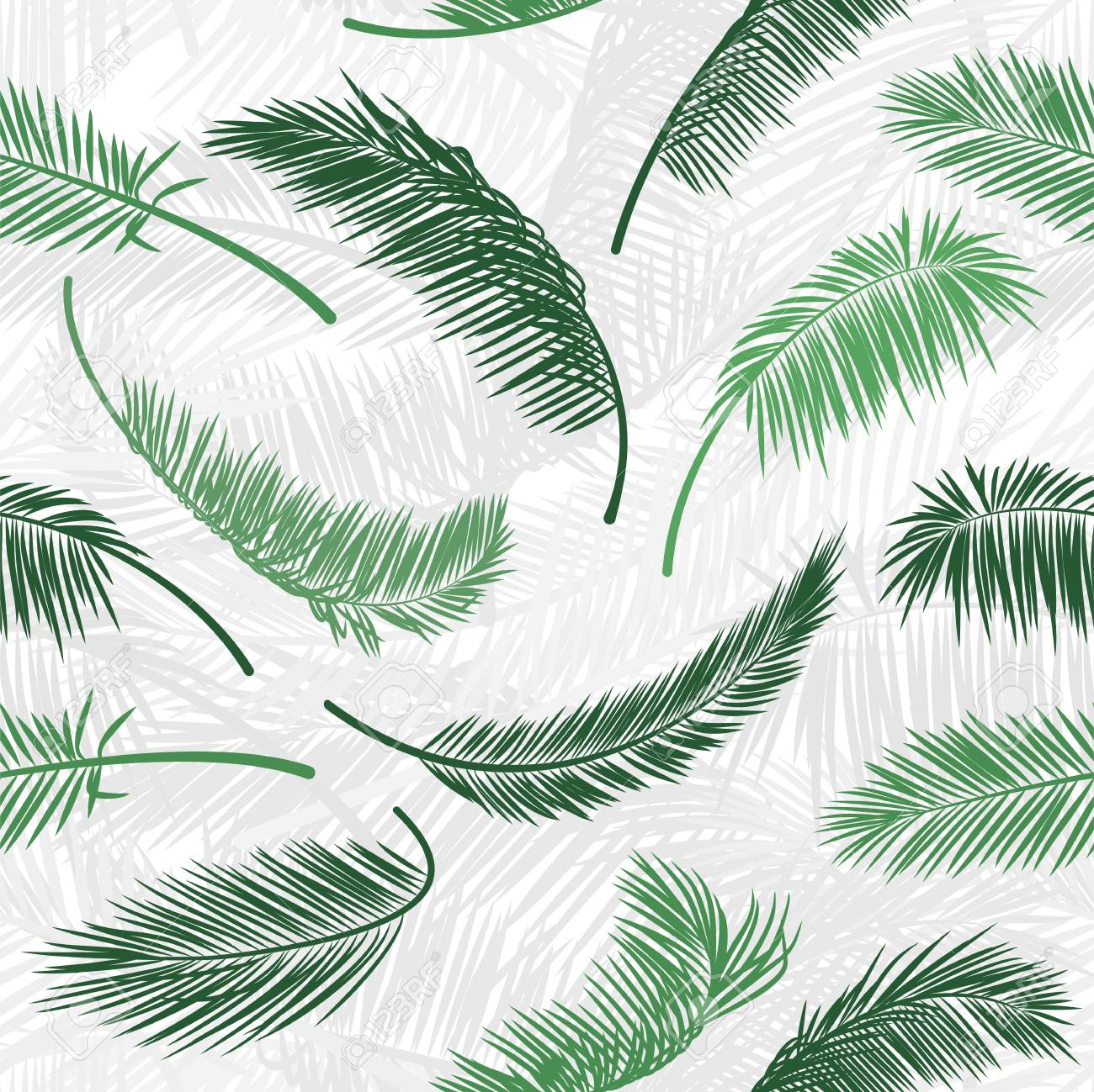 Tropical Green Palm Tree Leaves In Seamless Pattern Vector Pattern Royalty Free Cliparts Vectors And Stock Illustration Image 112046578