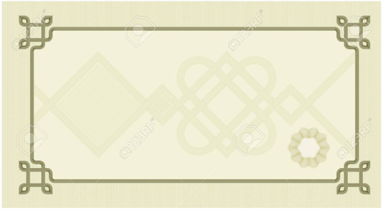 Coupon Certificate Template With Complex Guilloche Elements Royalty