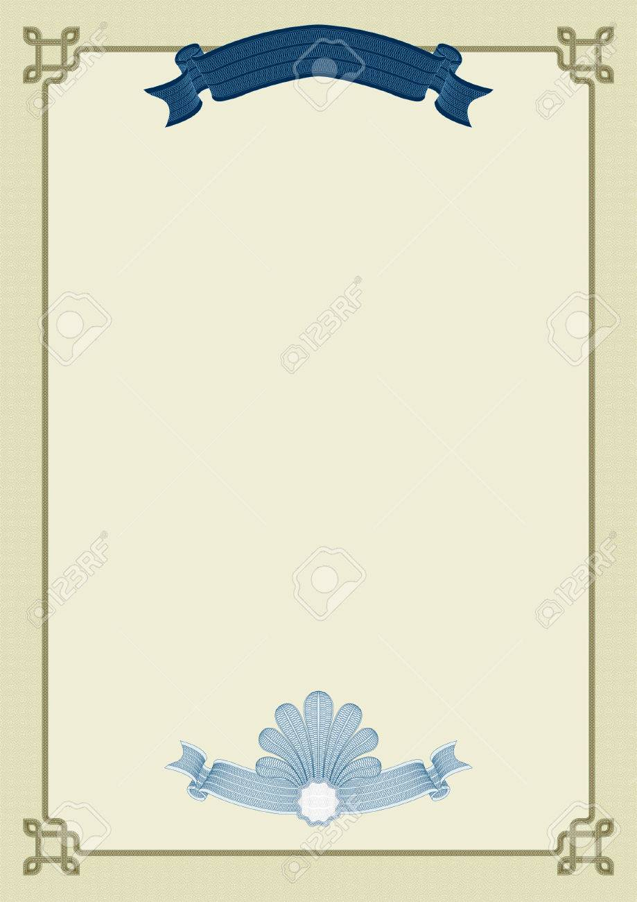 Diploma Certificate Template With Complex Guilloche Elements Royalty ...