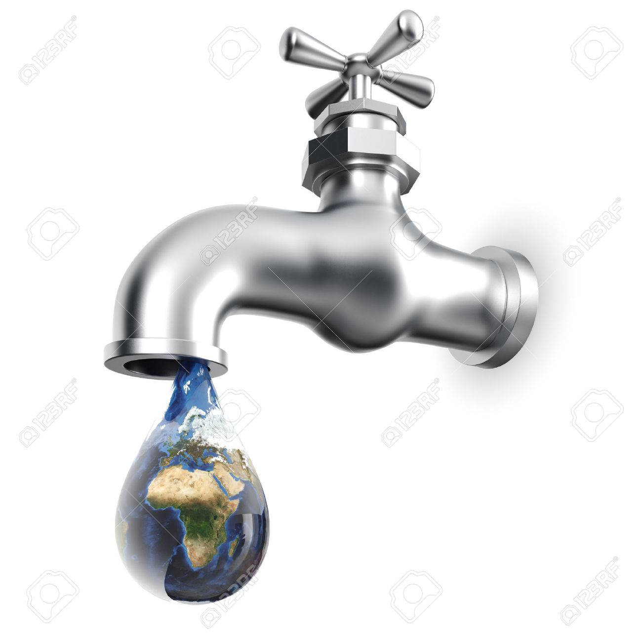Earth Globe In Waterdrop Dripping From Tap Stock Photo, Picture And ...